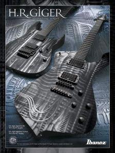 A guitarra Ibanez H.R. Giger, com desenhos do Alien assinados pelo criador do personagem